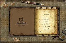 A Flash website design for Arcides. The goal was to create an unconventional design that captured the essence of the company's image as an elegant company with a royal touch....